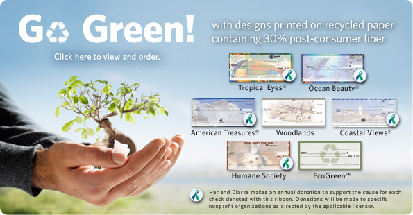 Go Green with recycled checks from Harland Clarke